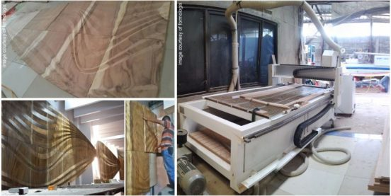 CNC machine at Fio Workshop (right image) and space modifier installation (left images)